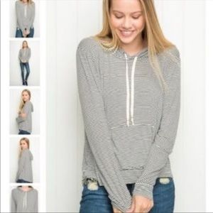 Brandy Melville Striped  Pocket Hooded Sweatshirt